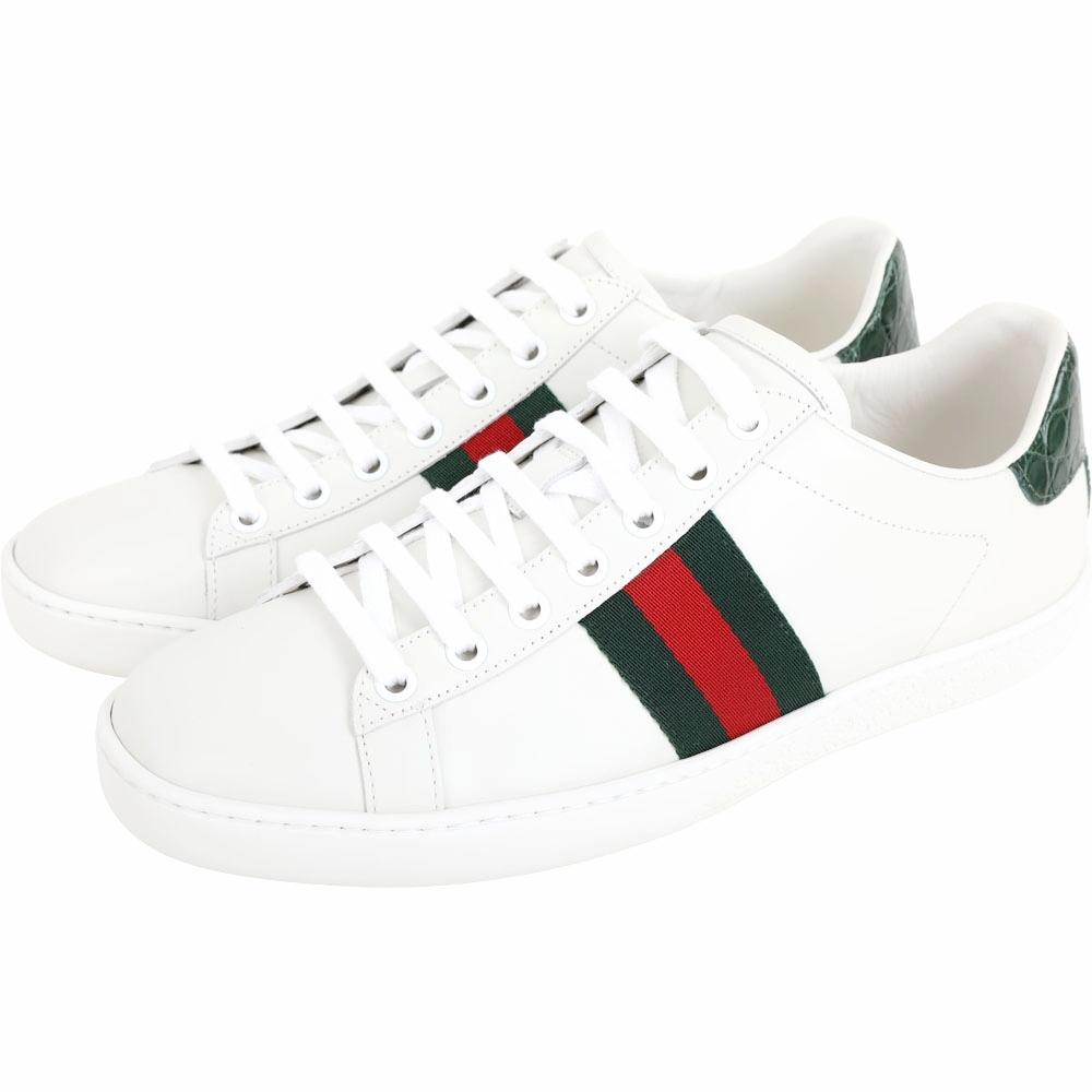 GUCCI Ace 鱷魚壓紋細節牛皮繫帶小白鞋(白色)