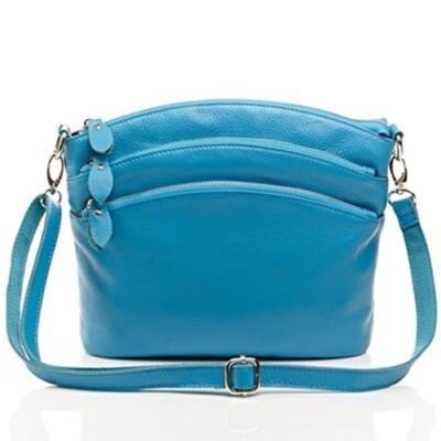 米蘭精品 側背包真皮斜背包-休閒軟質純色多隔層女包情人節生日禮物6色73ed1
