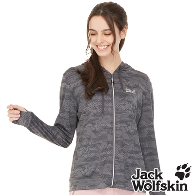 【Jack wolfskin 飛狼】女 山景印花連帽遮陽外套 抗UV外套『鐵灰』