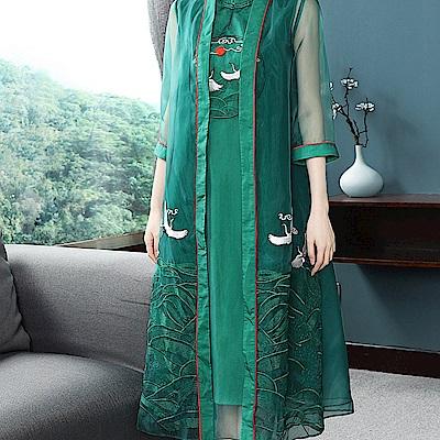高端奢華旗袍式洋裝兩件套S-2XL(共兩色)-糖潮