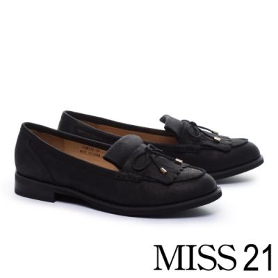 跟鞋 MISS 21 經典蝴蝶結點綴流蘇牛皮低跟鞋-黑