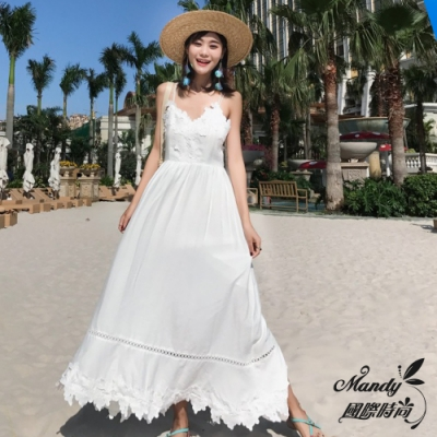 Mandy國際時尚 無袖洋裝 甜美蕾絲性感露背顯瘦海邊連衣長裙