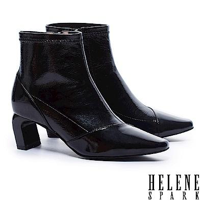 短靴-HELENE-SPARK-極簡主義皺漆皮高跟