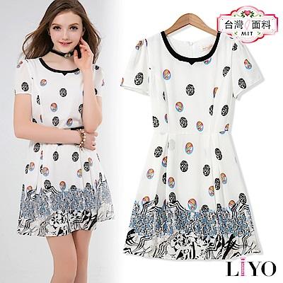 洋裝MIT圓領修身顯瘦歐風印花洋裝LIYO理優 S-XL