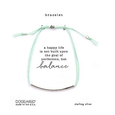 Dogeared BALANCE 平衡骨手鍊 銀色亮面墜 嫩綠色防水繩手鍊 可調式
