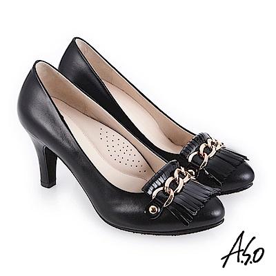 A.S.O 個性都會 鏡面牛皮流蘇拼接高跟鞋 黑