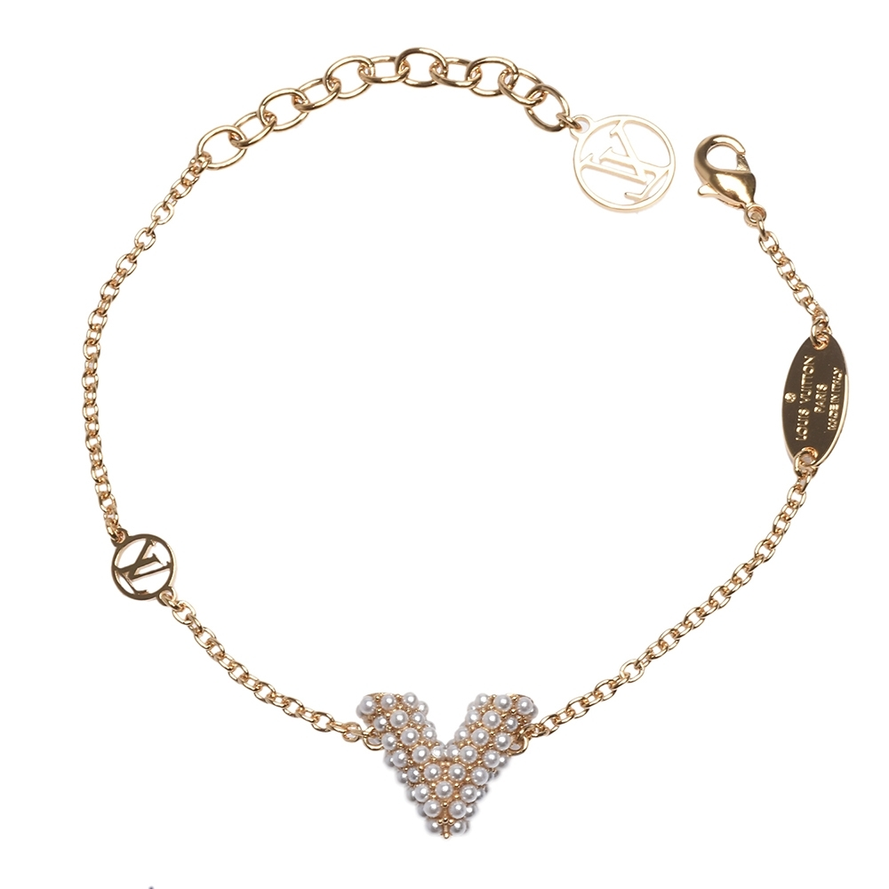 LV M68361 ESSENTIAL V PERLE珍珠鑲飾手鍊(金)