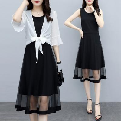 輕盈削肩網紗背心裙+純色喇叭袖罩衫套裝XL-5XL(共二色)-KVOLL