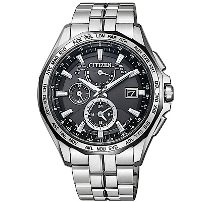 CITIZEN 極輕量鈦金屬電波光動能錶/AT9096-57E