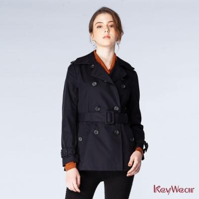 KeyWear奇威名品    時尚防潑水短風衣-黑色