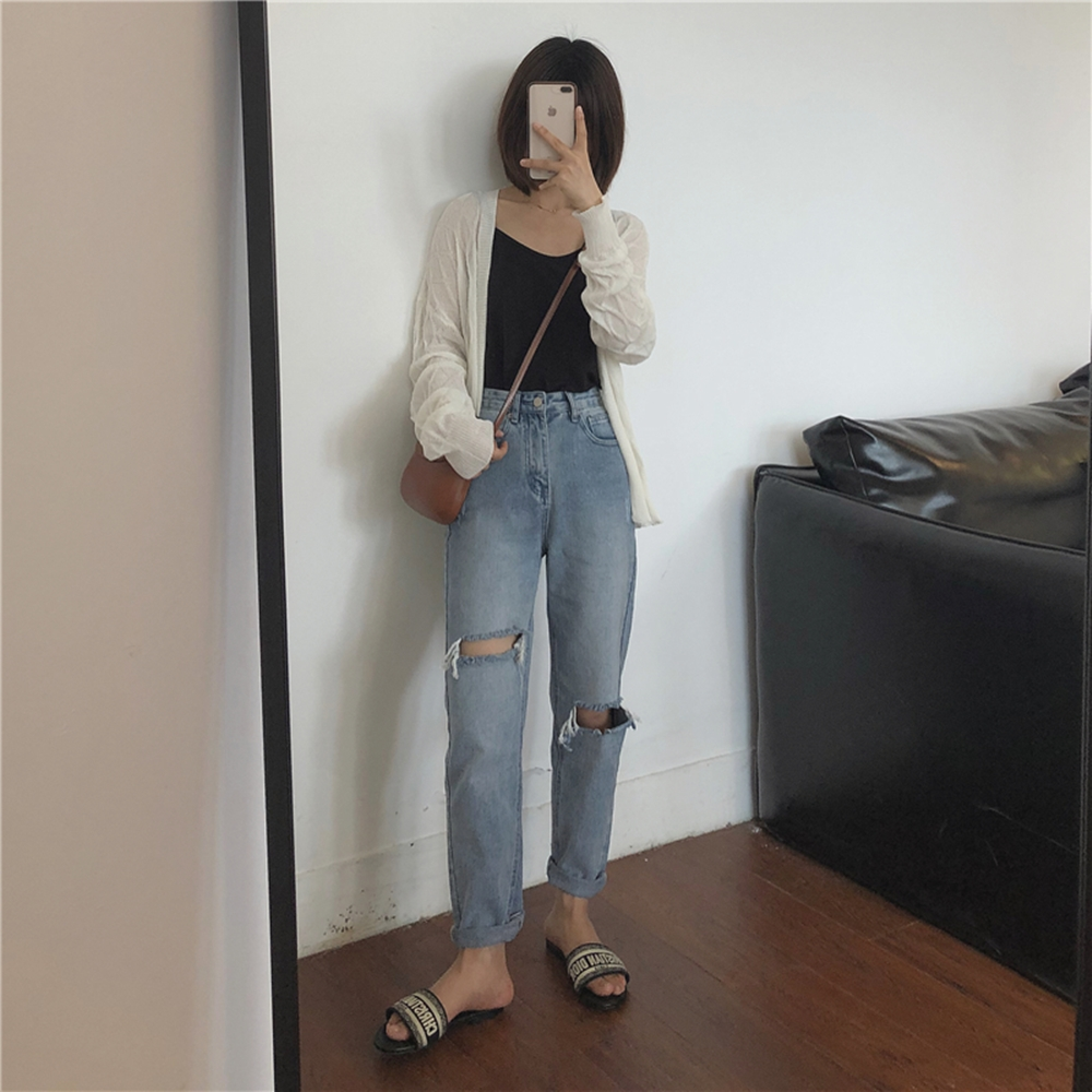 韓國空運 破洞水洗牛仔褲-TMH