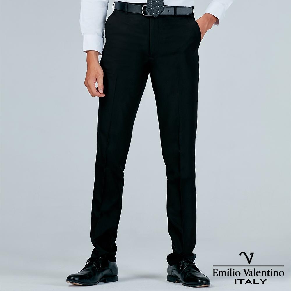 Emilio Valentino 范倫提諾修身平面西裝褲-黑
