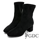 GDC-時尚韓風基本簡約素色顯瘦中筒襪靴-黑色