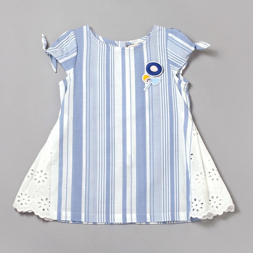 PIPPY直條蕾絲布長上衣-藍
