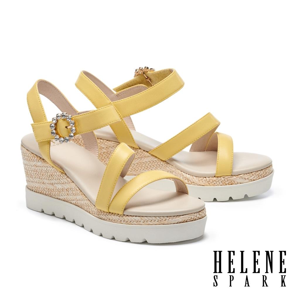涼鞋 HELENE SPARK 夏日清新繫帶異材質撞色楔型高跟涼鞋-黃
