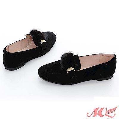 MK 英倫風毛球質感樂福鞋  2 色