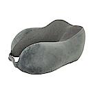 PUSH旅遊用品記憶棉搭飛機枕U型頸枕火車枕午休枕頭枕(折疊型)深灰S50-1