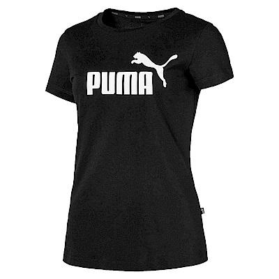 PUMA-女性基本系列No.1 Logo短袖T恤-黑色-亞規