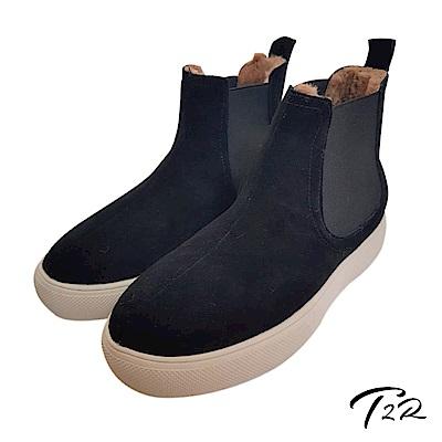 【AIRKOREA韓國空運】溫暖內鋪毛麂皮彈力秋冬短靴-氣墊增高-黑