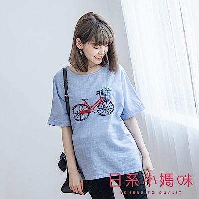 日系小媽咪孕婦裝-腳踏車刺繡圖騰直條紋棉麻上衣