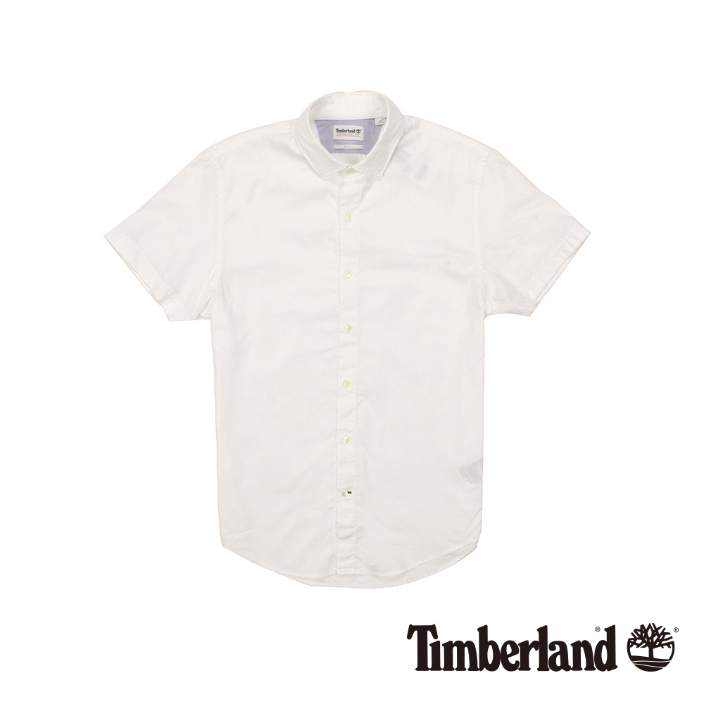 Timberland 男款白色短袖牛津格子襯衫 | A1UMHA94
