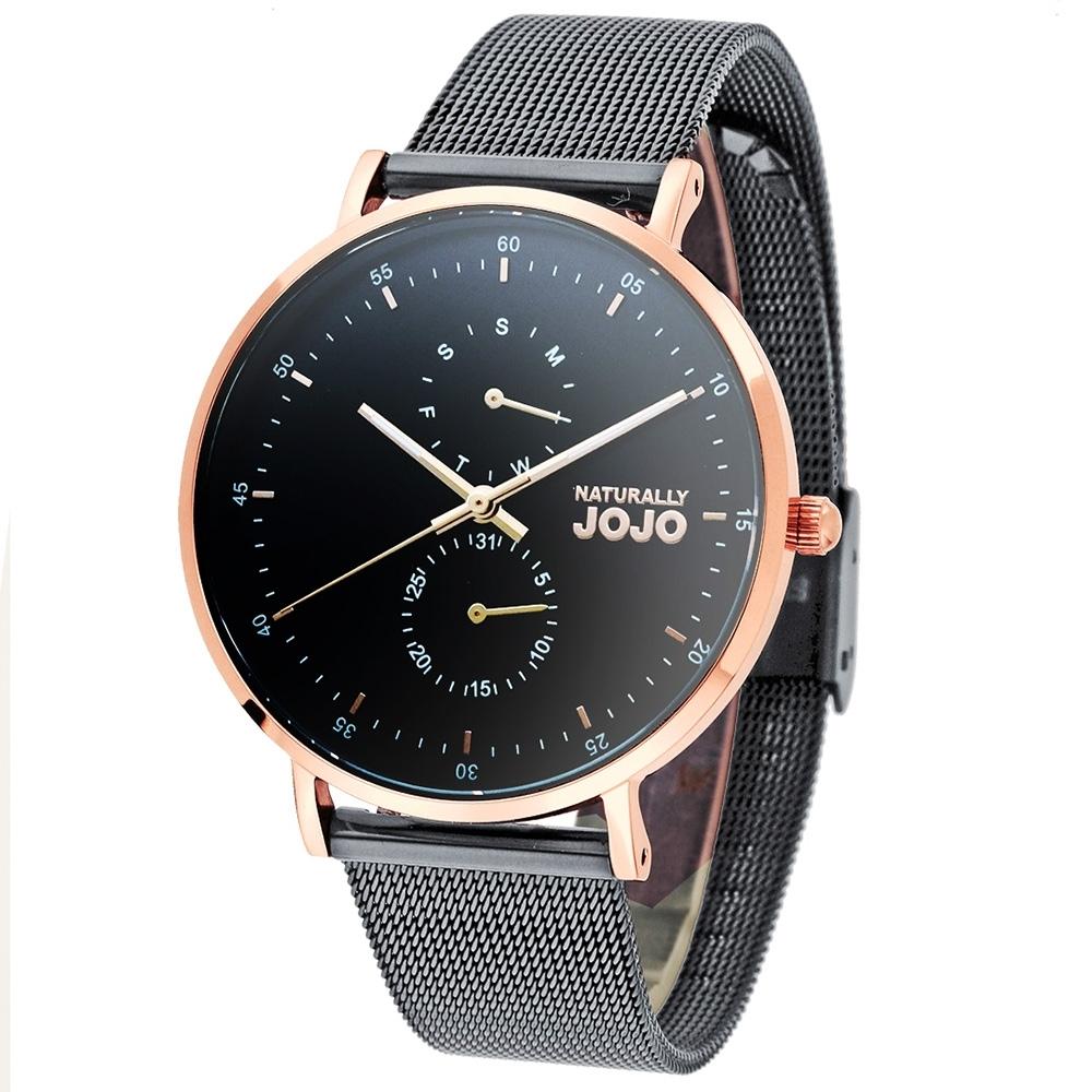 NATURALLY JOJO 極致簡約時尚腕錶-黑色/38mm(禮盒組)