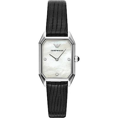 Emporio Armani 質感晶鑽時尚真皮手錶(AR11148)-珍珠貝X黑/24mm