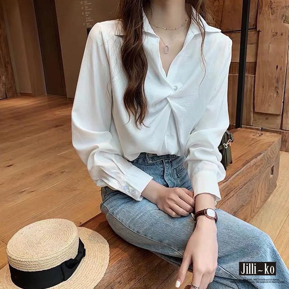 JILLI-KO 抓皺領設計款襯衫- 藍/白