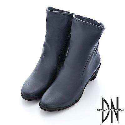 DN 米蘭風格 質感牛皮斜口中筒跟靴-藍