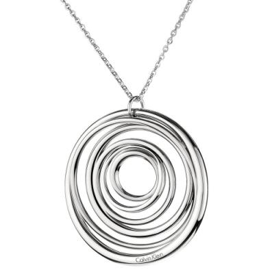CALVIN KLEIN Sumptuous 系列時尚同心圓銀項鍊