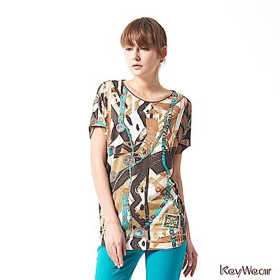 KeyWear奇威名品     義大利進口素材珠寶印花垂袖上衣-橄欖黃色