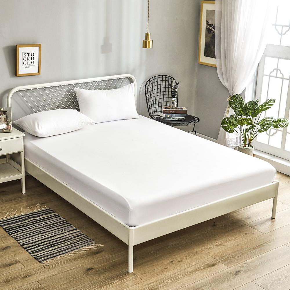 A-one 雪紡棉 純色系列-加大床包枕套三件組-珊瑚白