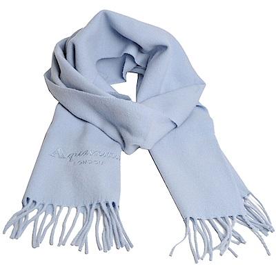 Aquascutum 高質感100%羊毛經典品牌字母LOGO刺繡圍巾(水藍) @ Y!購物
