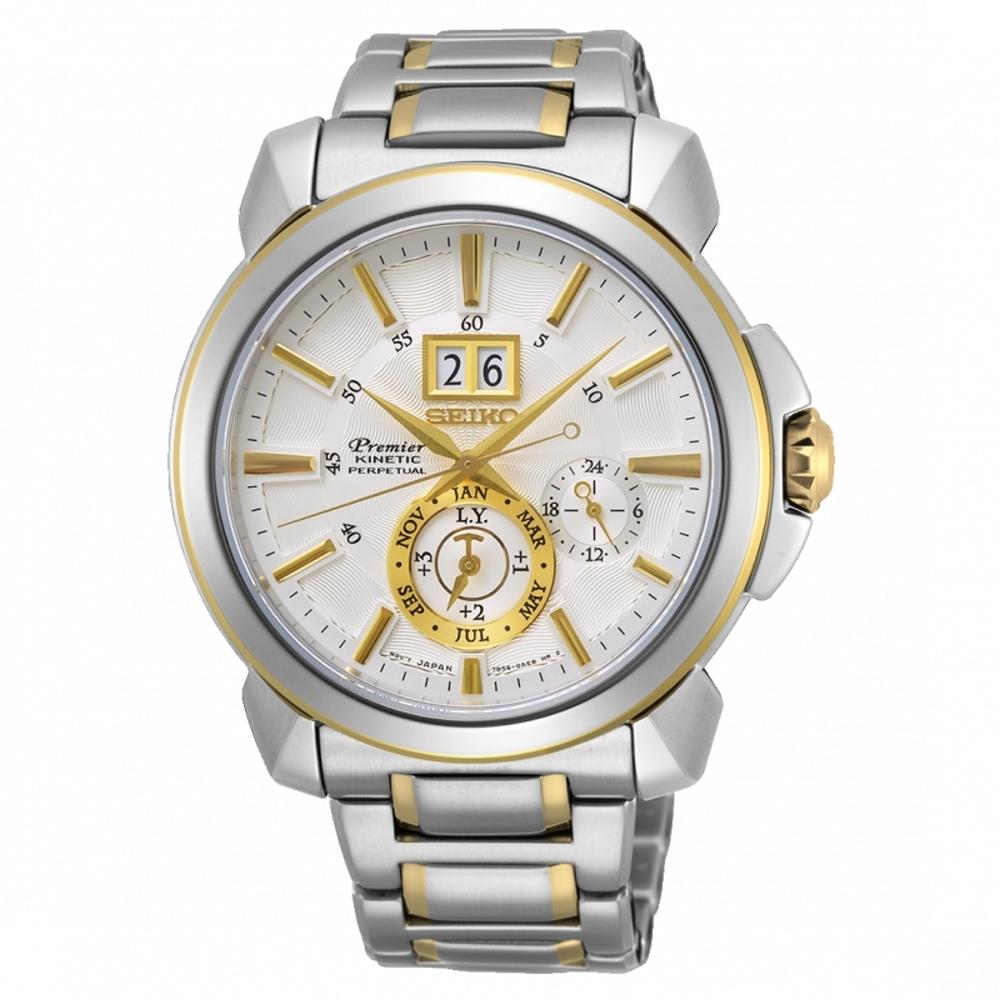 SEIKO精工Premier紳仕人動電能萬年曆腕錶7D56-0AG0K(SNP166J1)