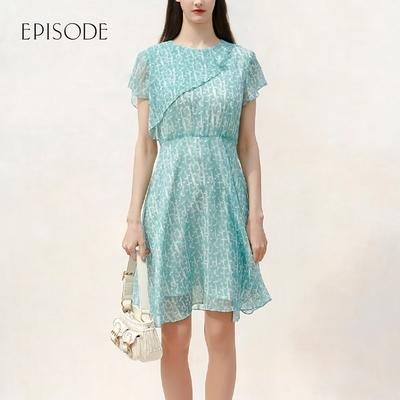 EPISODE - 浪漫清新修身印花短袖雪紡洋裝(淺薄荷綠)