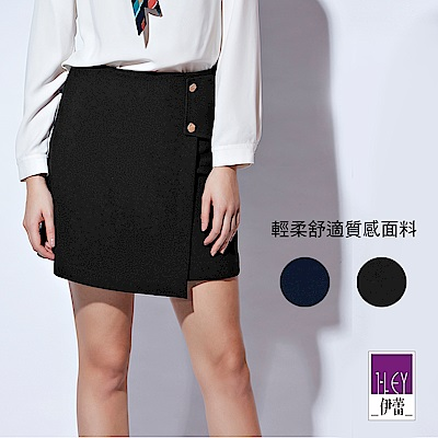 ILEY伊蕾 花朵金屬釦活片造型百搭褲裙(黑/藍)