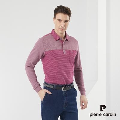 Pierre Cardin皮爾卡登 男款 棉質混紡 磨毛保暖剪接條紋長袖POLO衫-紫色(5185213-28)