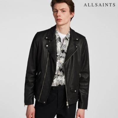 ALLSAINTS MILO 桀傲不馴騎士羔羊皮皮衣外套-黑