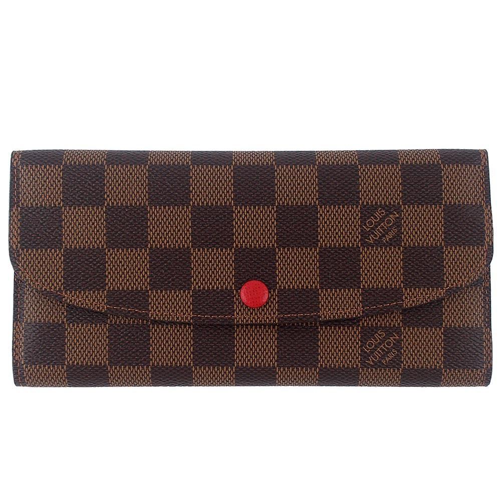 LV N63544 Damier LV棋盤格紋翻蓋押扣長夾(紅)