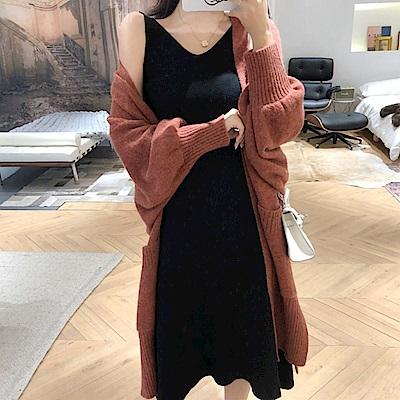 La BellezaV領包心紗針織柔軟針織長版背心裙