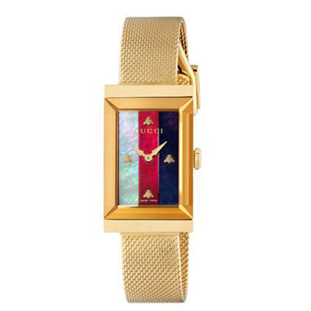 GUCCI G-Frame 金色小蜜蜂珍珠貝母米蘭帶款x 21x34mm