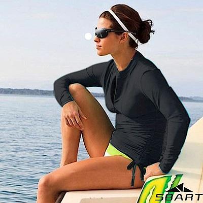 SBARTY 女時尚新款 長袖緊身保暖防曬潛水長版上衣_黑