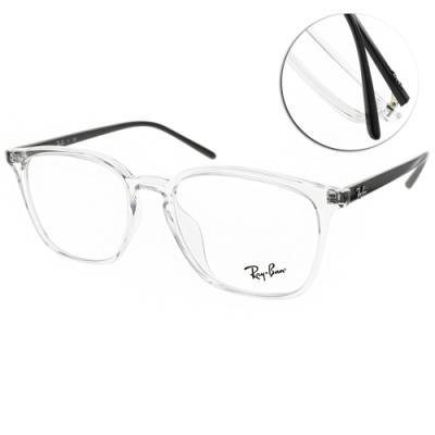 RAY BAN光學眼鏡 時尚方框款 /透明-黑 #RB7185F 5943-54mm