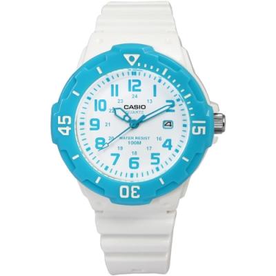 CASIO 卡西歐 潛水運動橡膠手錶-白x水藍 LRW-200H-2B 32mm