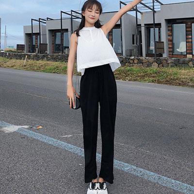 小清新百搭背心+長褲兩件套 (黑+白色)-Kugi Girl