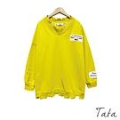V領割破貼布落肩上衣 共兩色 TATA-F