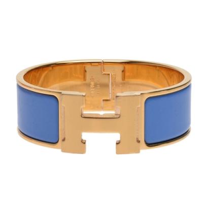 HERMES Clic H LOGO琺瑯中版手環(天空藍X金)