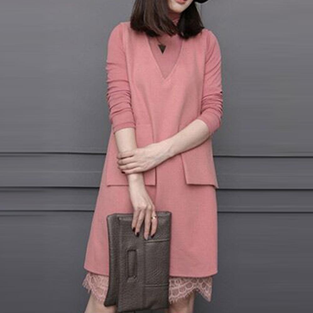 【韓國K.W.】蕾絲打底衫中長款長袖毛呢洋裝(兩色可選)