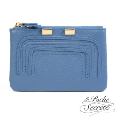 La Poche Secrete 簡約真皮實用零錢包鑰匙包-天空藍