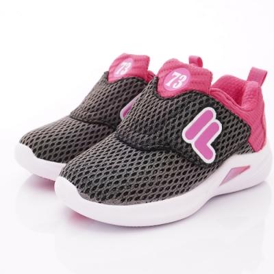 FILA頂級童鞋 反光輕量運動款 EI52T-055黑桃(中小童段)
